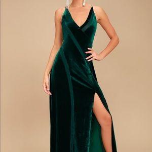 Free People Forest Green Velvet Maxi Dress